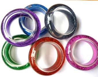 Water and Glitter Filled JUMBO-Sized Plastic Bangle Bracelets