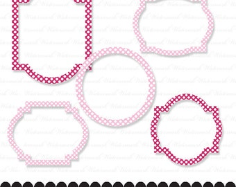 Clip art frame pink frame baby girl white polka dots in fuschia pink and light pink digital frame : e0156 3s3738