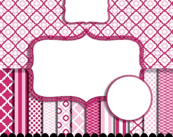 Pink Digital paper frame baby pink chevron fuschia photo circle digital frames clip art girl stripe hot pink : p0207 3s373850