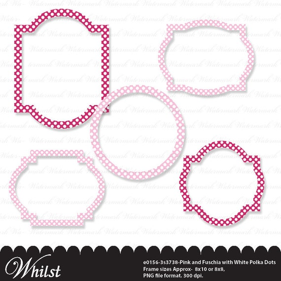 Clip art frame pink frame baby girl white polka dots in fuschia pink ...