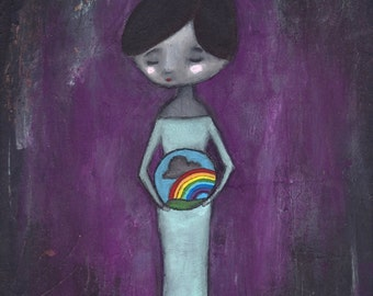 "Fine Art Print - 8"" x 12"" Giclee, Mother's Day Baby Shower Gift, Rainbow Pregnancy After Loss Healing Art - ""After the Storm"""