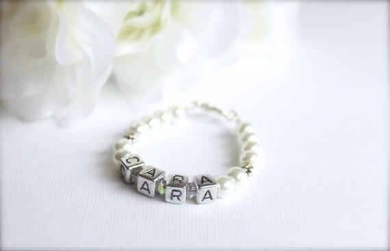 Flower Girl Gift, Personalized Bracelet, Pearls and Letter Blocks, Girls Name bracelet -- FREE Gift Packaging