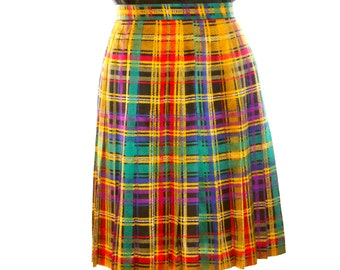 Carlisle Tartan Plaid Scarf  Pleated Type Skirt  CUTE - Size 4 Ladies Silk Skirt