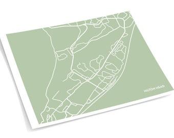 Hilton Head, SC City Map / South Carolina Art Print Vacation Map / 8x10 Giclee Print / Choose your color