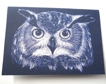 Owl greetings card blue