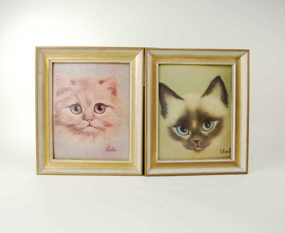 Vintage Sherle Kitten Prints // Pair of 1960s Framed Wall Hangings // Persian & Siamese Cats // Museum Print Editions