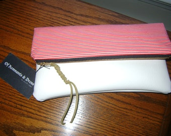 Stripes No Stars Foldover Mini Clutch in White or Aquamarine