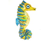 Seahorse wall art Blue & yellow w beads and things