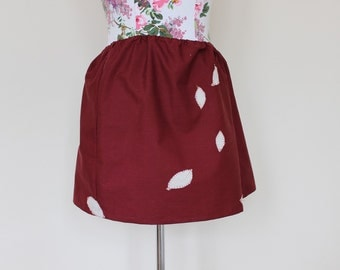CLEAR OUT !!! Handmade burgundy red skirt with elasticated waistband and falling autumn leaves in gold UK 10 waist 28""