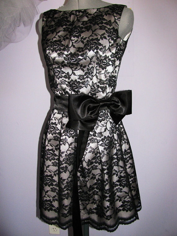 Sale 20 off black lace and silver satin dress ready to ship for Black and silver wedding dress