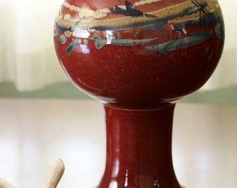 Red Pedestal Covered Jar