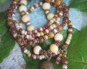 Gypsy Bohemian Bone, Glass Beads and Wood Bracelet Stacker Set with Buddha Charm