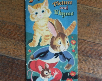 Vintage Children's Book - Animals in Story Picture and Rhyme - A Nice High Book Easy to Hold (Arrow Company 1948)