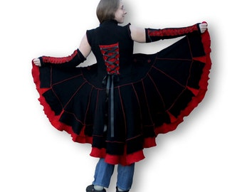 Upcycled Sweater Coat, Handmade, Black and Red, laced, recycled