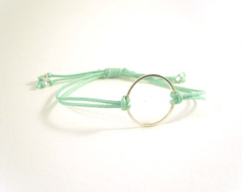 Mint Green Eternity Bracelet, Friendship Bracelet, Mint Bracelet, Adjustable Cord Bracelet, UK Seller