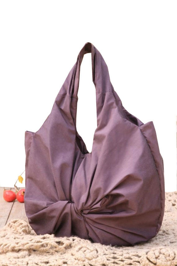 Round Twisted Hobo Handbag / Purple cotton Tote bag