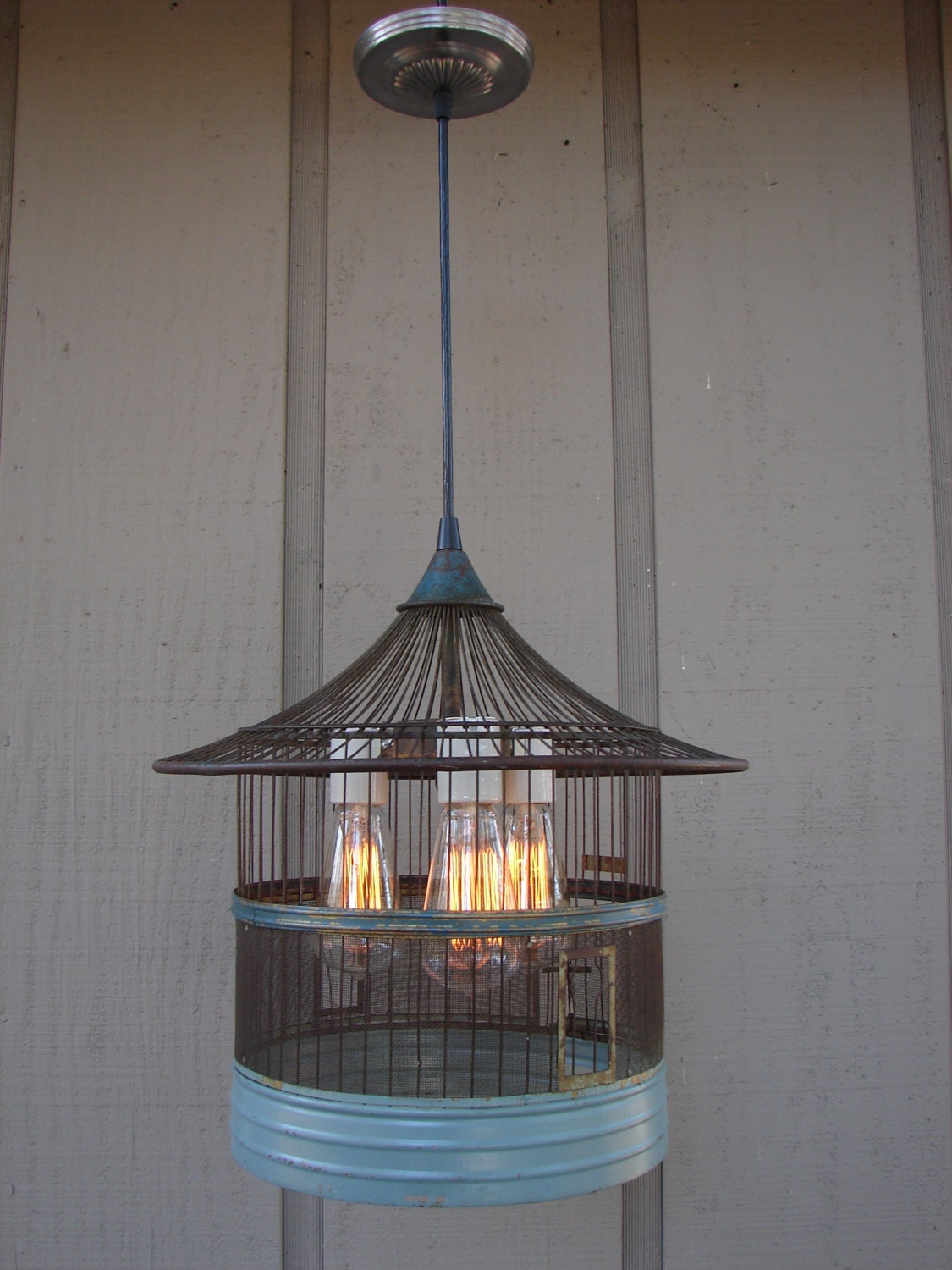 Rustic Pendant Light Upcycled Vintage Bird Cage By