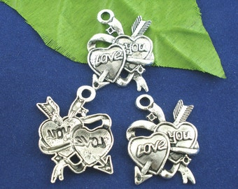 """3 Heart Charms - Antique Silver - Valentine """"Love You"""" - 27x35mm - Ships IMMEDIATELY from California - SC456"""