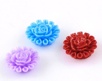 50 Flower Cabochons - WHOLESALE - Assorted -  13x5mm - Ships IMMEDIATELY  from California - C77a