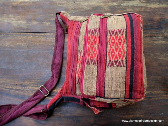 Ethnic Naga Embroidery Messenger Bag Cross Body Tote Red Tan and Berry