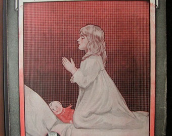 1918 World War 1 Sheet Music Just A Babys Prayer At Twilight For Her Daddy Over There