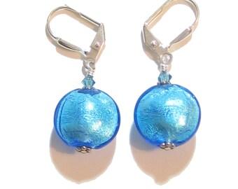 Murano Glass Aqua Disc Silver Earrings, Sterling Silver Leverback Earrings, Venetian Glass Jewelry, Gift For Her, Clip On Earrings