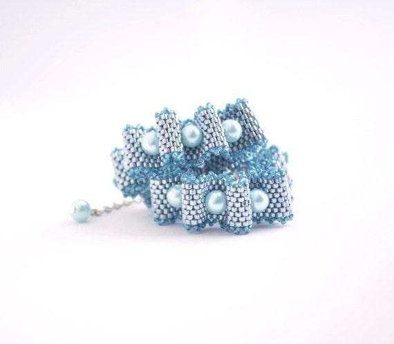 Pearl Ribbon Bracelet, Silver Gray Bracelet, Drape Bracelet, Gathered Ribbon Bracelet