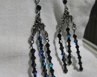 Gothic Victorian black and silver earrings, victorian steampunk jewelry