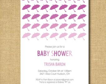 Umbrella Baby Shower Invitation - Baby Girl or Gender Neutral
