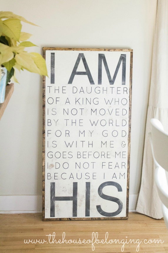 "I AM HIS - 18"" x 36"" ( new size )  this would be so sweet a girls room.  can be customized in any color too!"