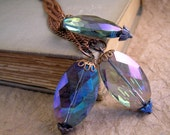 Crystal Pendant Necklace. Your choice of one pendant with purple, blue, or green flower headpin. Vintage style jewelry