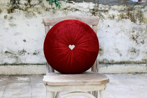 handmade pillow in crushed red velvet with rhinestone heart center tuft