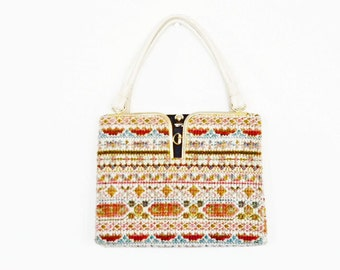 Boho Tapestry Handbag Purse Needlepoint Carpetbag - Retro Midcentury MadMen Mod Modern Tribal Hippie -1960's-70's So Fun!