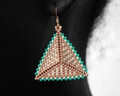 Turquoise, Gold & Cream Geometric Handmade Beaded Earrings