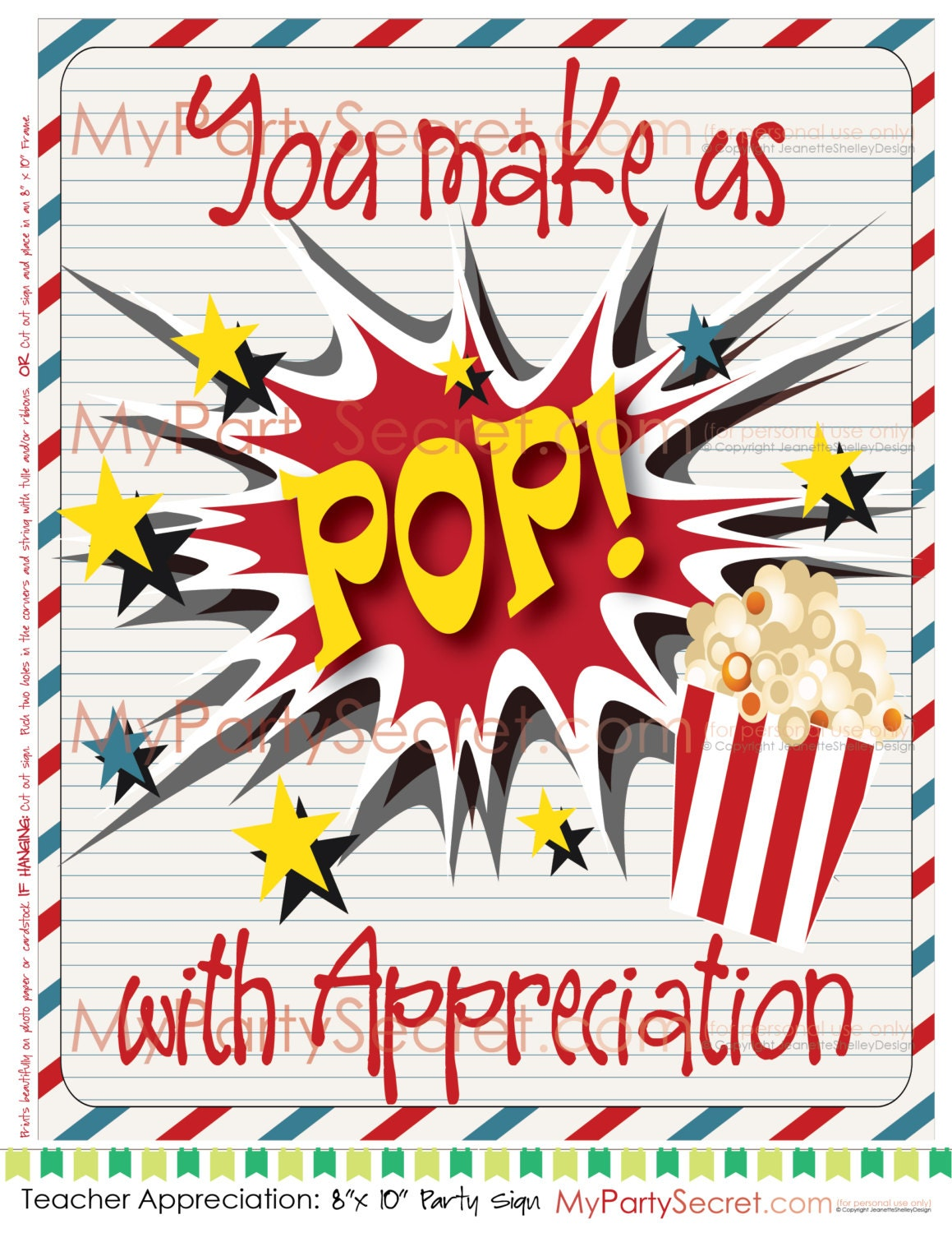 DIY Printable Teacher Appreciation Popcorn You Make Us