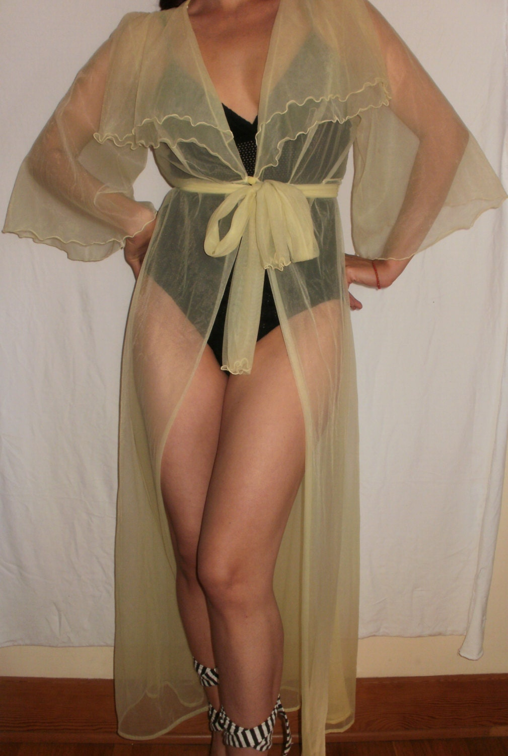 Yellow Sheer Lingerie Vintage 1950 S Transparent See By
