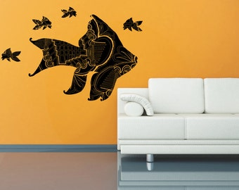 fish silhouette with geometric design, wall decal