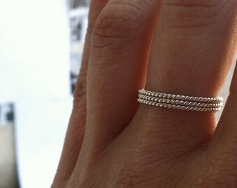 Set of 3 18g Rope Textured Sterling Silver Stacking Rings - custom made to order