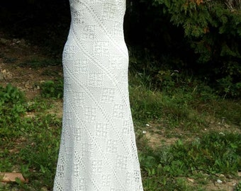 Handmade Vintage Crocheted Lace Backless Wedding Dress