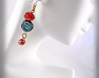 Glass Bead Earrings - Turquoise Swirl with Red Crystal - Bronze Jumprings Sterling Ear Hooks - Unique Jewelry for a Unique You