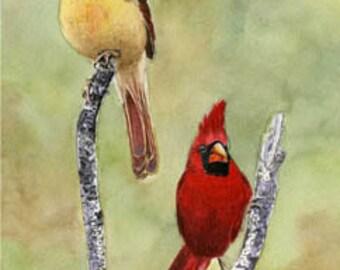 Cardinals, 8x10 original watercolor painting,  birds, home decor, art, wall art earthspalette