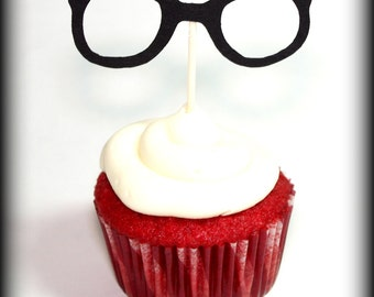 12 Glasses Cupcake Toppers- Little Man Party- Glasses on a stick- Party Decorations