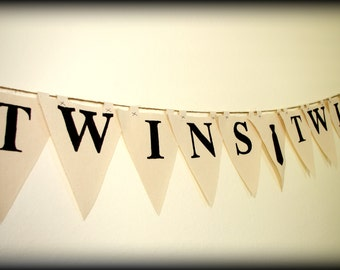 Twins-Party Banner-Tie-Mustache Party-Baby Shower Banner-Little Men Party-Little Man Party-Baby Shower-Twins banner-Little Man- Tie