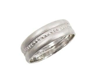 Princess bride wedding ring. Wide wedding ring. 14k matte wedding ring. White gold wedding ring. Gold ring. Princess ring.  (gr-9300)