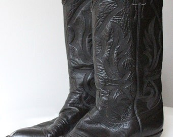 Vintage Justin Black with Black Stitching Cowboy Boots 8 EE