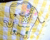 Yellow and White Plaid Baby Quilt, Elephant Mouse Crib Quilt, Nursery Blanket