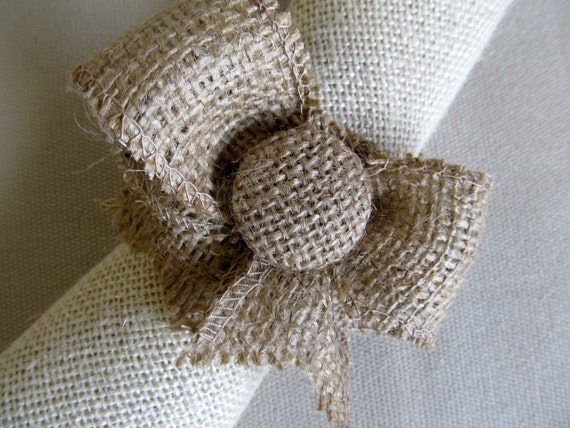 small buttoned Burlap Bow Napkin Ring by pineconeshoppe on Etsy