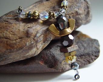 Antique Bronze, Golden Yellow and Gun Metal Iridescent Beaded Wingnut Angel Necklace