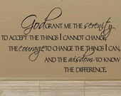 God grant me the serenity prayer wall decal WD A007 vinyl home decor living room god grant me