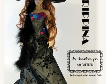 Lace-up Bodice & Skirt PDF Pattern for eid sd BJD...Agrippina